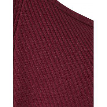 Ladder Cut Out High Low Ribbed Tee - RED WINE 2XL