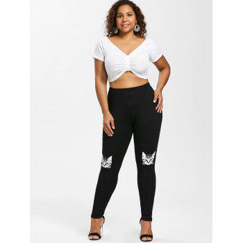 Plus Size Kitten Pattern Leggings - BLACK L