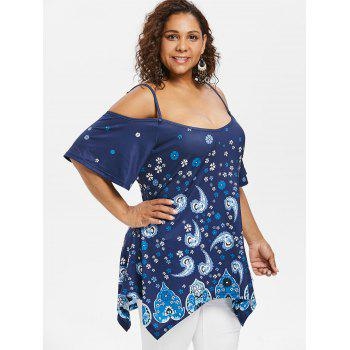 Cold Shoulder Flower Plus Size T-Shirt - BLUE 2X
