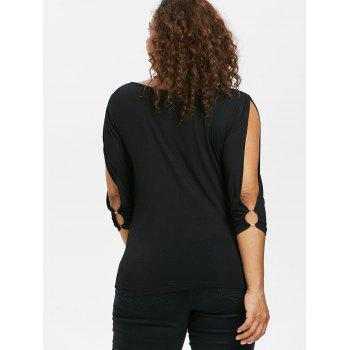 Plus Size Skew Collar Asymmetric T-shirt - BLACK 4X