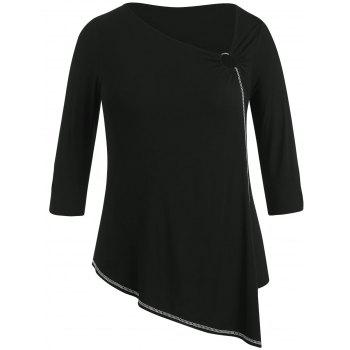 Plus Size Skew Collar Asymmetric T-shirt - BLACK 3X