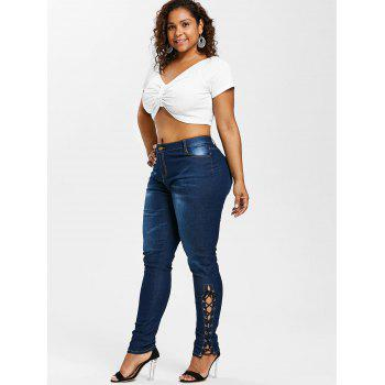 High Waist Side Lace Up Plus Size Jeans - DENIM DARK BLUE L