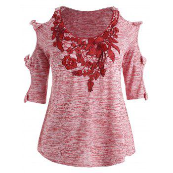 Plus Size Bowknot Embellished Cold Shoulder T-shirt - PINK BOW 3X