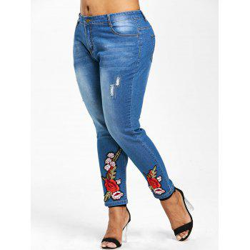 Zipper Fly Floral Embroidery Plus Size Jeans - DENIM DARK BLUE L