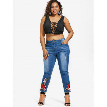 Zipper Fly Floral Embroidery Plus Size Jeans - DENIM DARK BLUE 2X