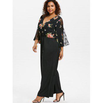 Plus Size Lace Insert Surplice Jumpsuit - BLACK 5X