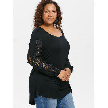 Plus Size Lace Trim Tunic Curvy T-shirt - BLACK 2X