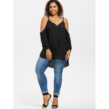 Plus Size V Neck Foldover Tunic Top - BLACK 2X