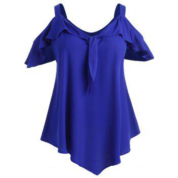 Sweetheart Neck Plus Size Ruffle T-shirt - COBALT BLUE L