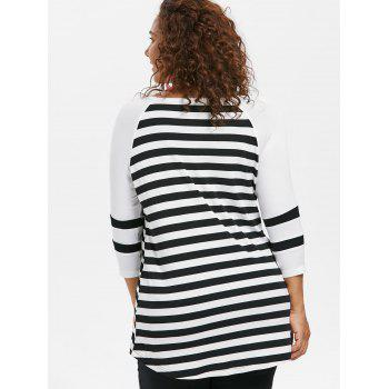 Plus Size Three Quarter Sleeve Asymmetrical T-shirt - BLACK 1X