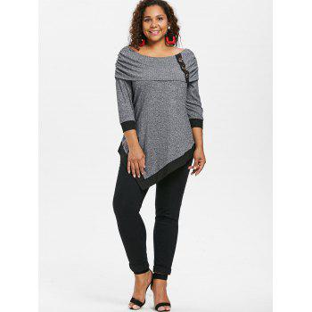 Plus Size Off Shoulder Marled Asymmetrical T-shirt - GRAY 5X