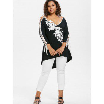Plus Size Lace Up V Neck T-shirt - BLACK 1X