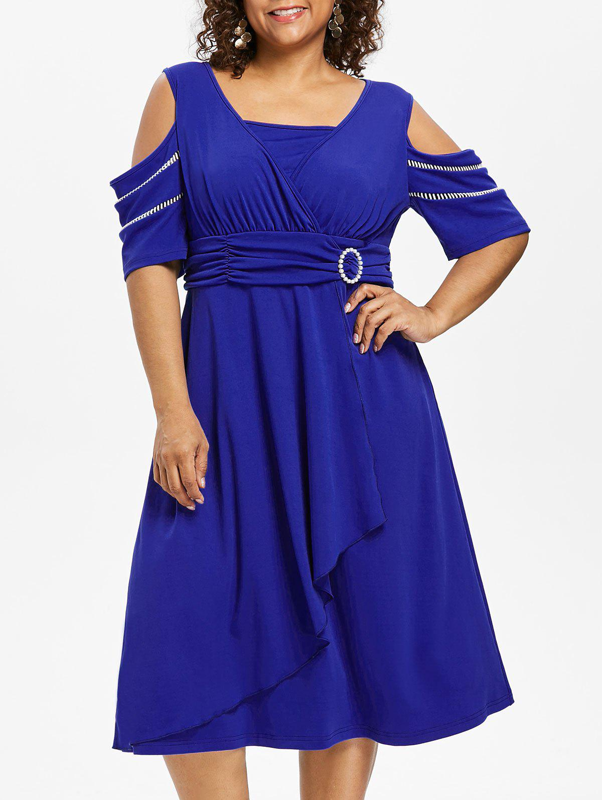 Plus Size Half Sleeve Midi Surplice Dress - ROYAL BLUE 5X
