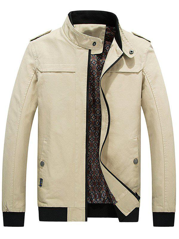 Stand Collar Zip Up Epaulet Design Jacket - LIGHT KHAKI 2XL