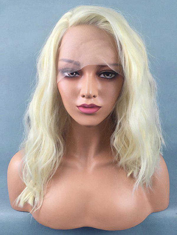 Medium Inclined Bang Natural Wavy Lace Front Synthetic Wig - BLONDE