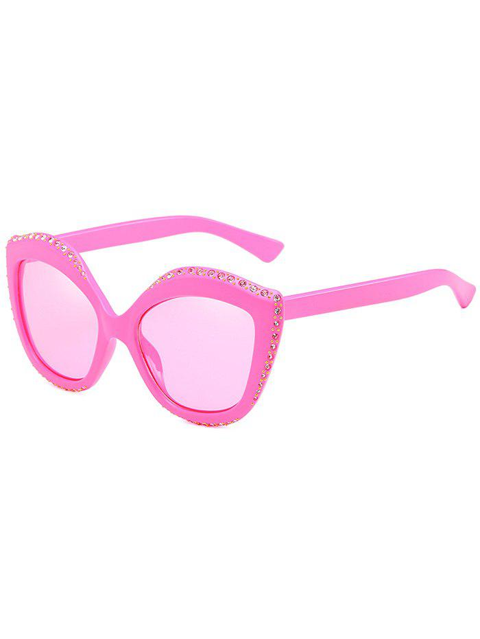 Anti Fatigue Rhinestone Inlay Rivets Oversized Sunglasses - PINK CUPCAKE