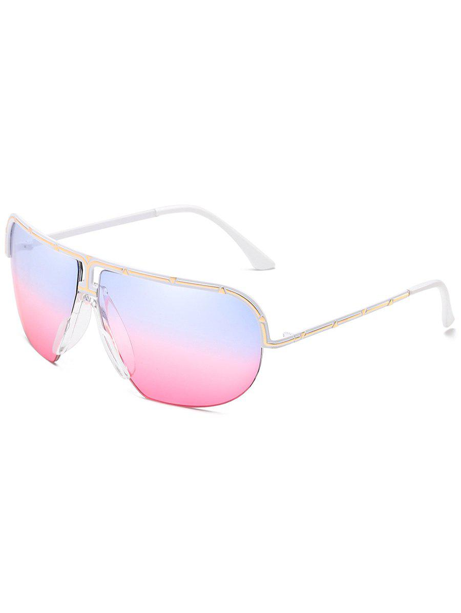 Vintage Metal Half Frame Shield Sunglasses - POWDER BLUE