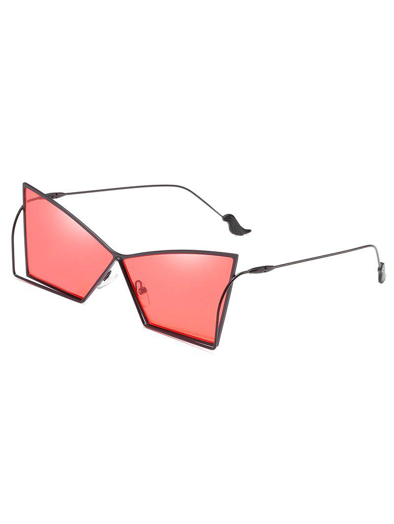 Hollow Out Frame Irregular Lens Sunglasses - BEAN RED