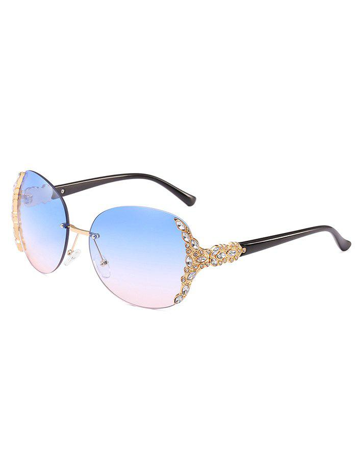 Elegant Rhinestone Rimless Oversized Sunglasses - DEEP SKY BLUE