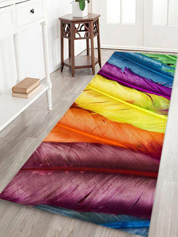 Colorful Feathers Pattern Flannel Area Rug - multicolor W24 INCH * L71 INCH