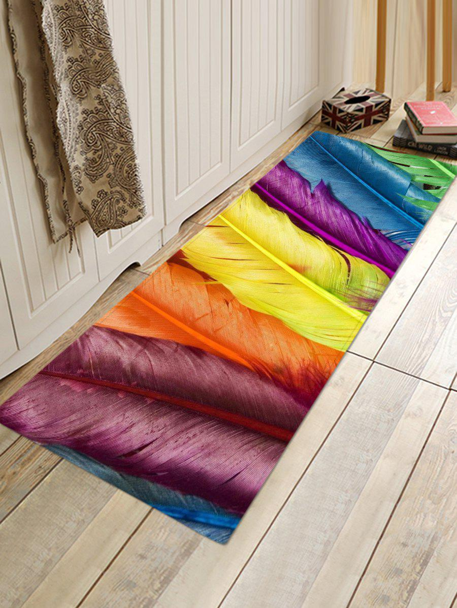 Colorful Feathers Pattern Flannel Area Rug - multicolor W16 INCH * L47 INCH