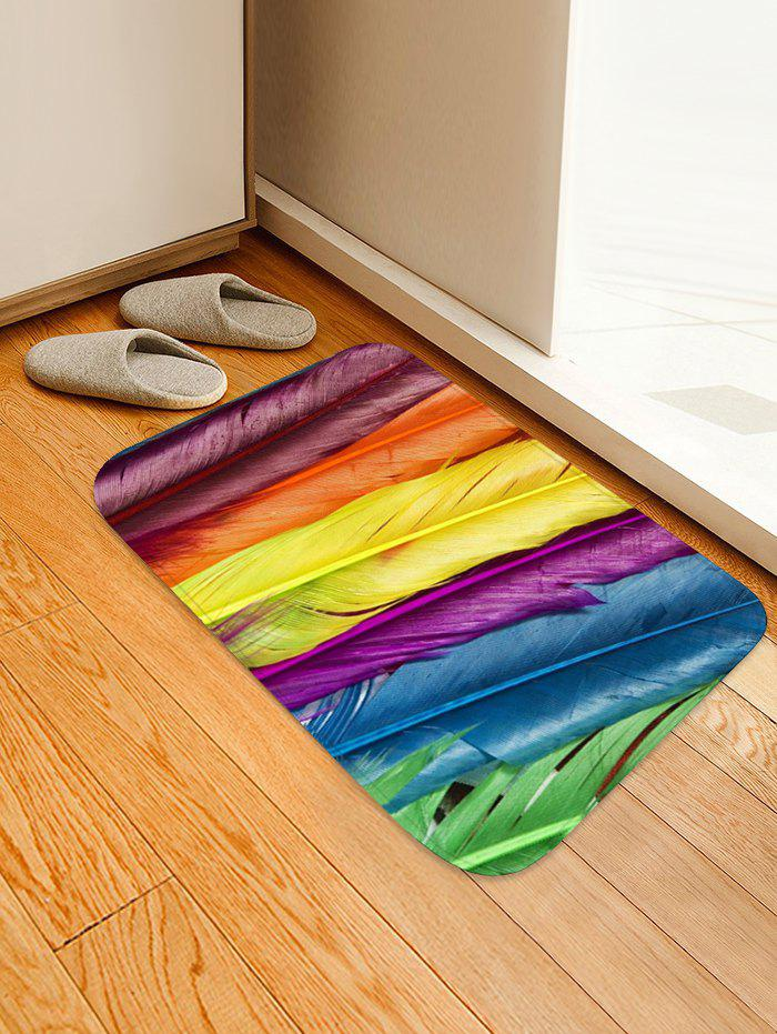 Colorful Feathers Pattern Flannel Area Rug - multicolor W16 INCH * L24 INCH