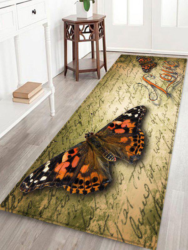 Butterfly Letter Pattern Flannel Area Rug - SAND W16 INCH * L47 INCH