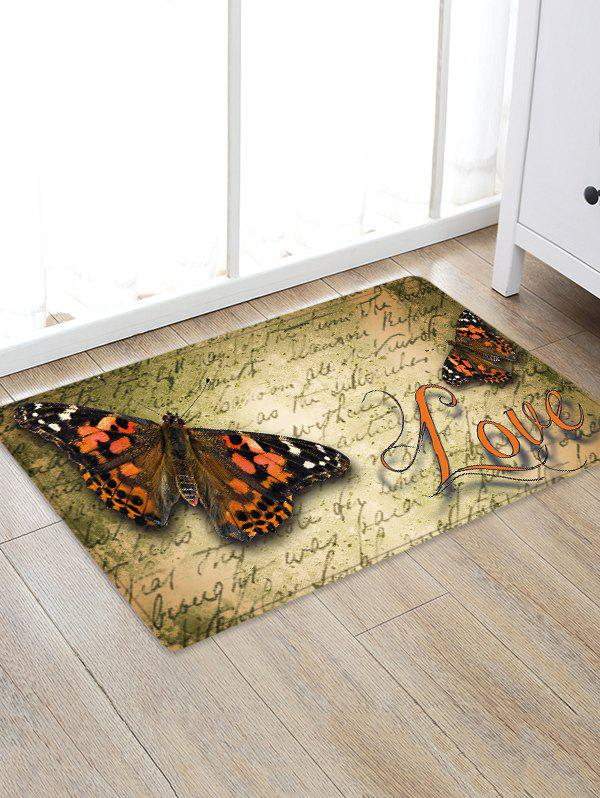 Butterfly Letter Pattern Flannel Area Rug - SAND W20 INCH * L31.5 INCH