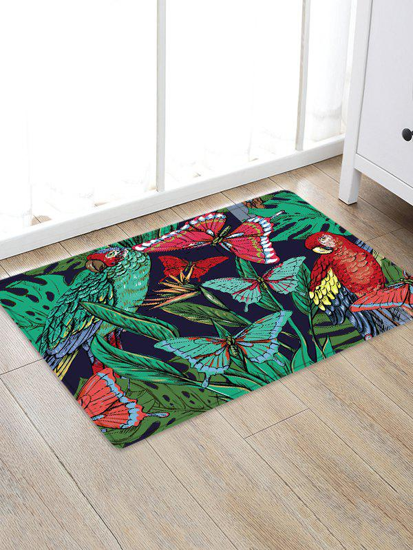 Butterfly and Bird Pattern Flannel Area Rug - multicolor W20 INCH * L31.5 INCH