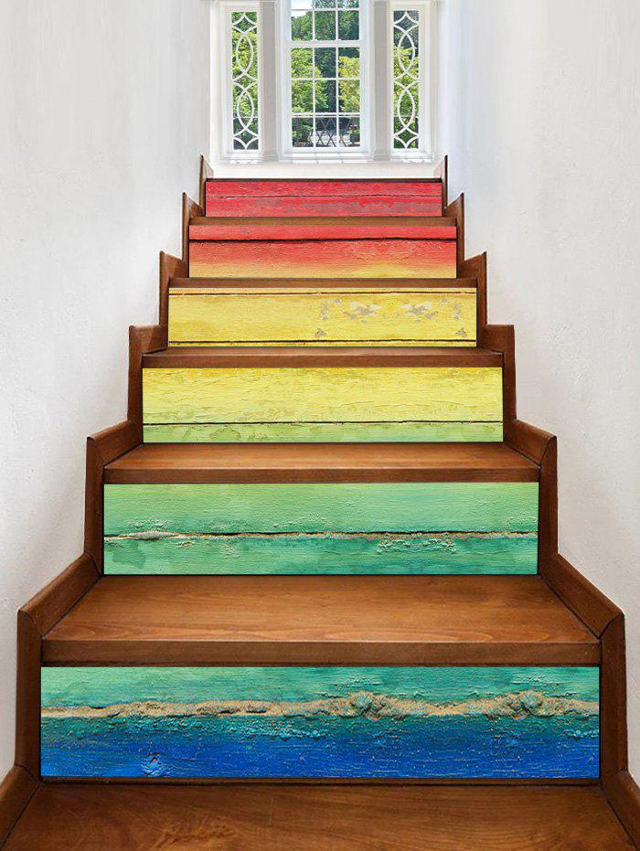 Colorful Ombre Print Stair Stickers - multicolor 6PCS:39*7 INCH( NO FRAME )