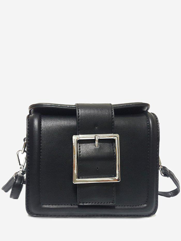 PU Leather Buckled Crossbody Bag - BLACK HORIZONTAL