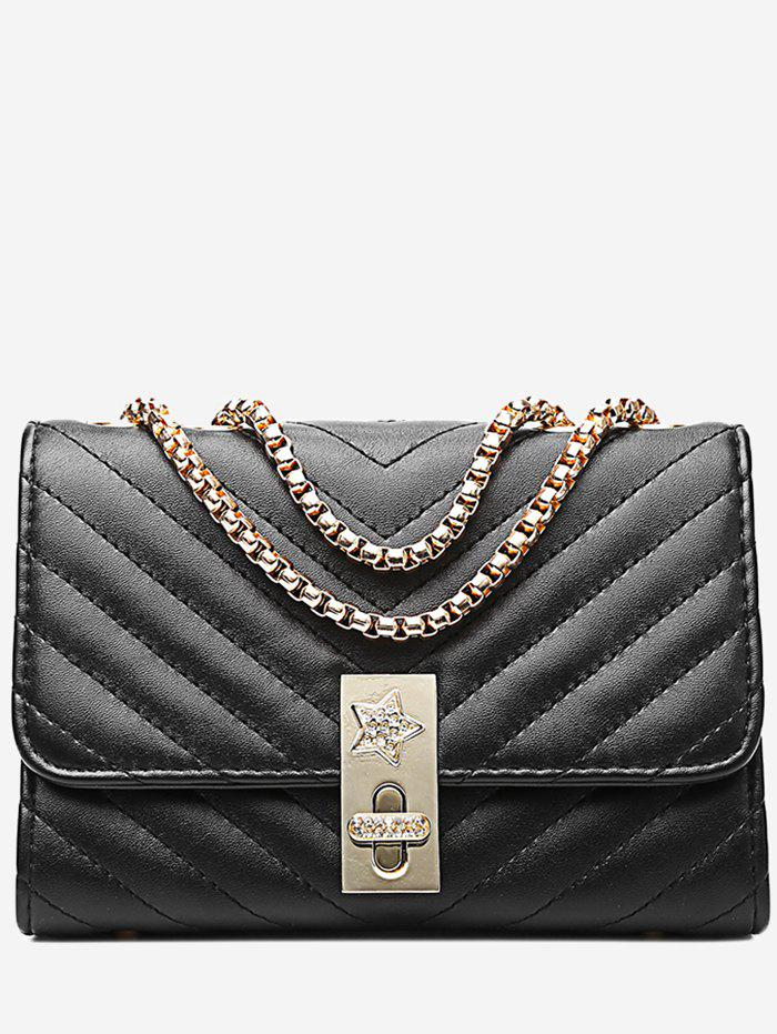 V Shaped Stitching Chain Hasp Crossbody Bag - BLACK HORIZONTAL