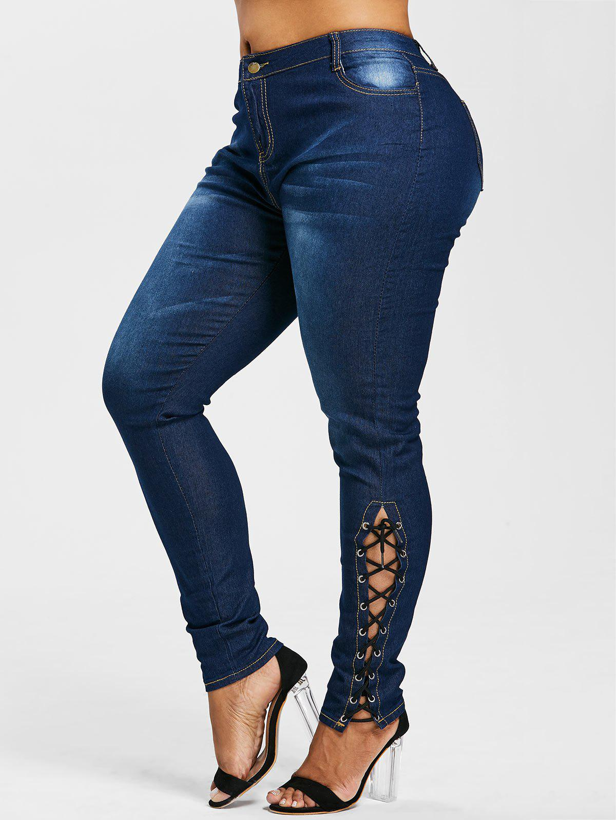 High Waist Side Lace Up Plus Size Jeans - DENIM DARK BLUE 2X