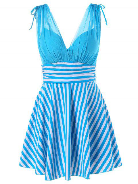 Empire Waist One Piece Stripe Skirted Swimsuit - BUTTERFLY BLUE XL