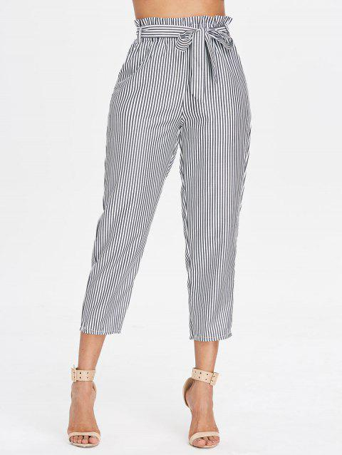Striped Belted Tapered Pants - GRAY L