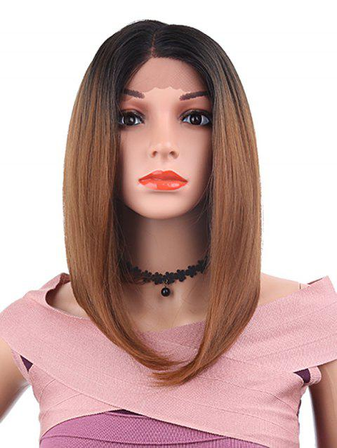 Side Parting Medium Straight Bob Synthetic Lace Front Wig - DEEP BROWN