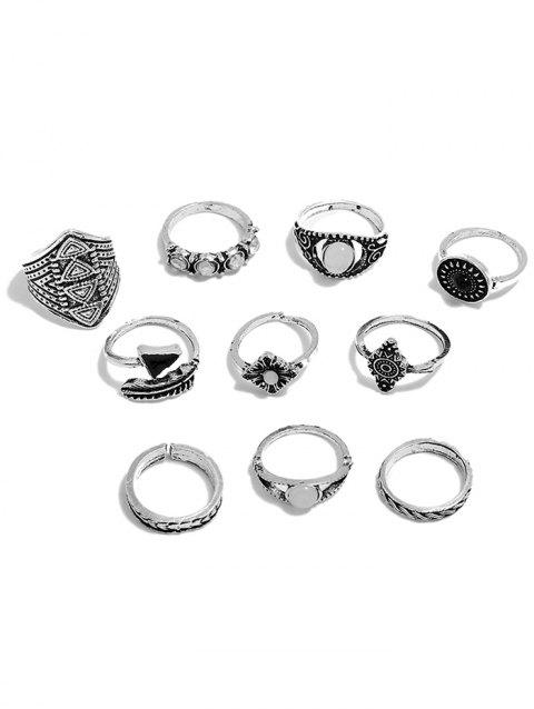 Retro Faux Gemstone Rings Set - SILVER