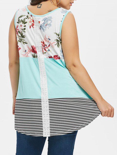 Color Block Floral Print Plus Size Tank Top - MINT GREEN 1X
