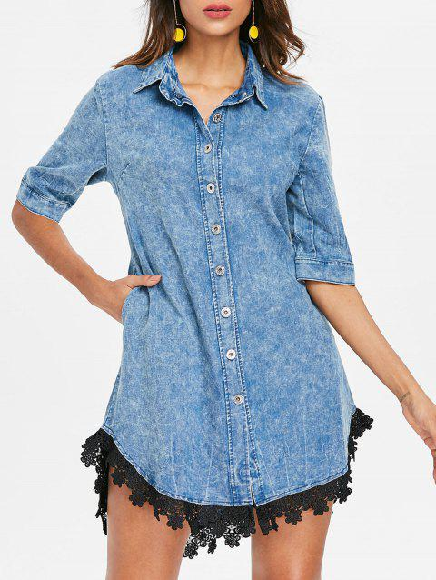 Lace Trim Shirt Collar Denim Dress - BABY BLUE M