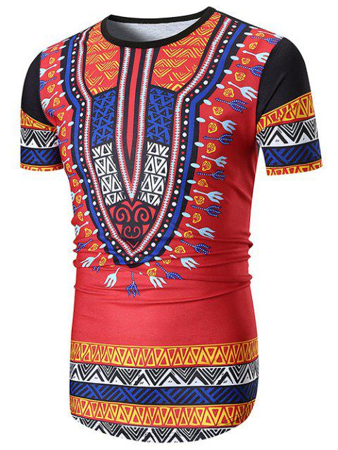 Ethnic Style Hem Curved Longline Tee - RED L