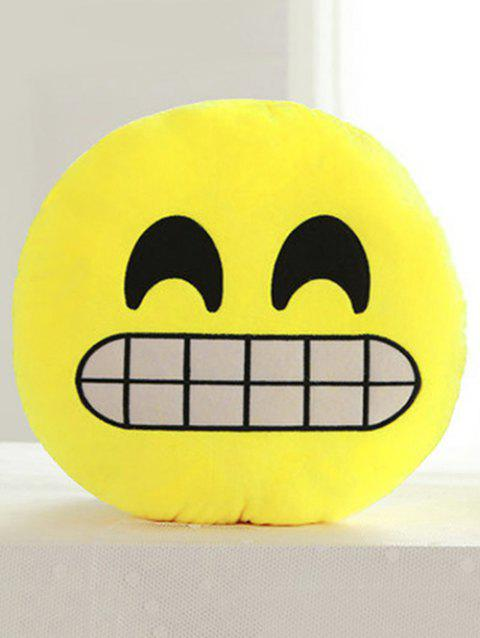 Cartoon Smile Face Emoticon Print Pillow Case - CORN YELLOW