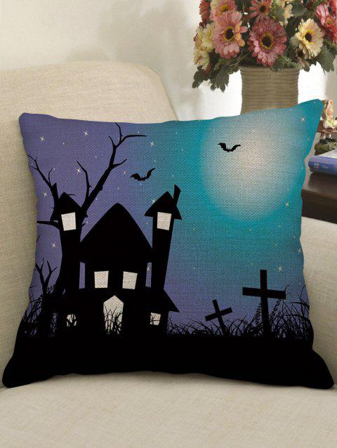 Halloween Castle Bat Crucifix Printed Pillow Case - multicolor W17.5 INCH * L17.5 INCH
