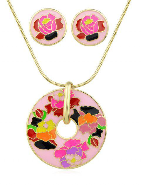 Flower Printed Collarbone Necklace Set - PINK