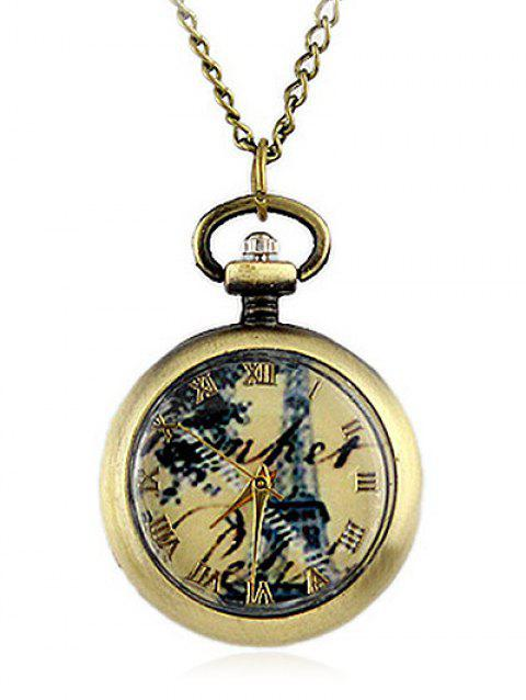 Roman Number Dial Pendant Necklace - GOLD