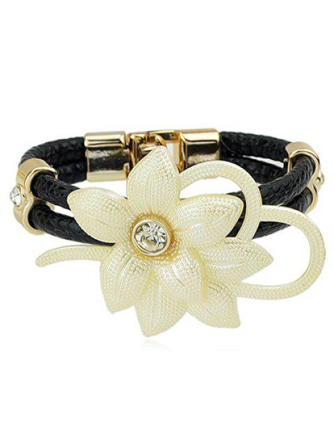 Rhinestone Flower PU Leather Bracelet - BLACK