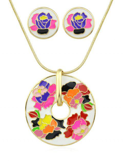 Flower Printed Collarbone Necklace Set - WHITE