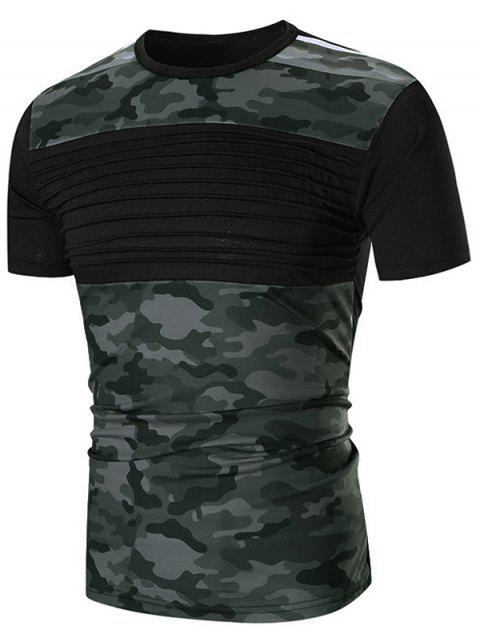 Chest Pleated Camouflage Splicing Casual T-shirt - BLACK L