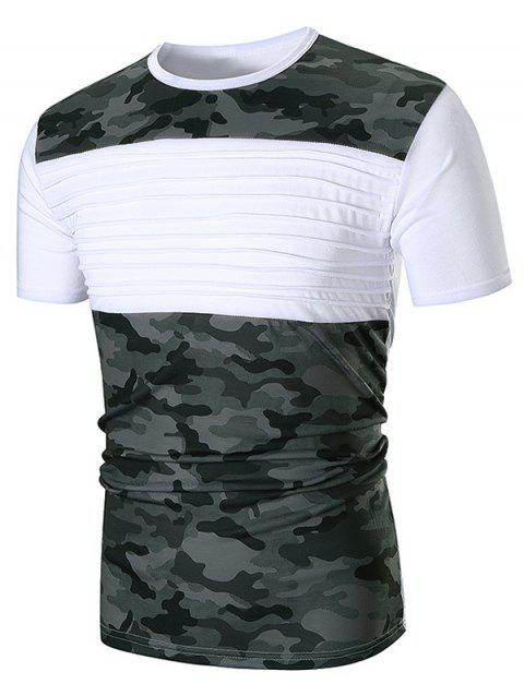 Chest Pleated Camouflage Splicing Casual T-shirt - WHITE L