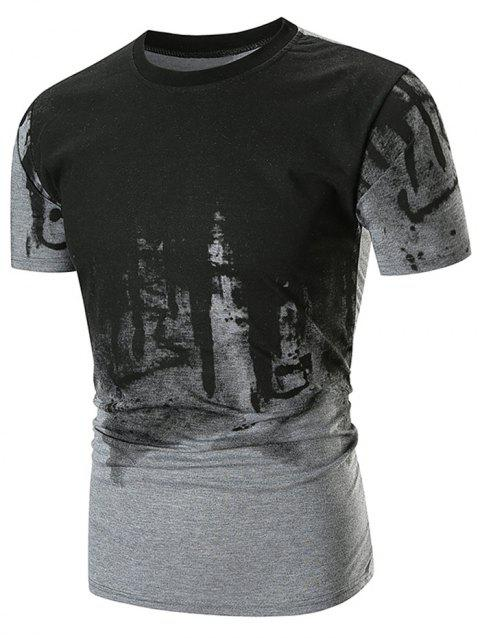 Abstract Ink Painting Printed Short Sleeve Tee - GRAY XL