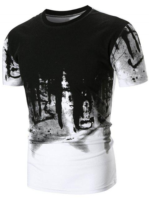 Abstract Ink Painting Printed Short Sleeve Tee - WHITE M